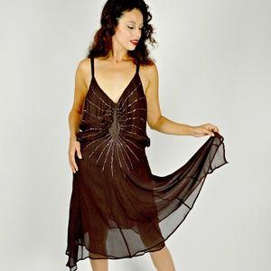 20s Style Brown Silk Flapper Dress